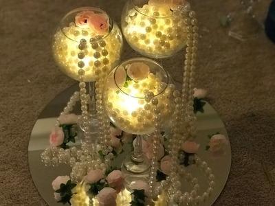 DIY- Dollar tree centerpiece  diy- roses and pearls centerpiece  diy- easy and elegant decor