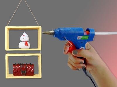 DIY HANGING WALL SHELF: HANGING ROPE SHELVES, DIY WALL DECOR IDEAS, CARDBOARD CRAFTS