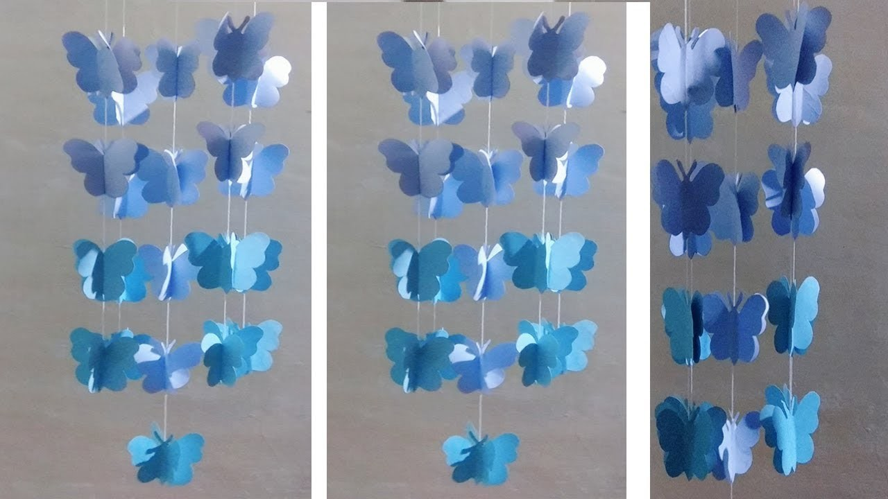 Diy Paper Butterfly Wind Chime Wall Hanging Diy Art And Craft Wall