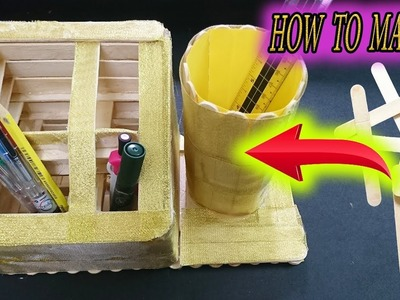 DIY  Pen stand with Ice Cream Sticks – Easy to make DIY – Paper Magic Top