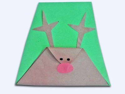 How to make a Christmas Card-simple reindeer christmas craft for kids