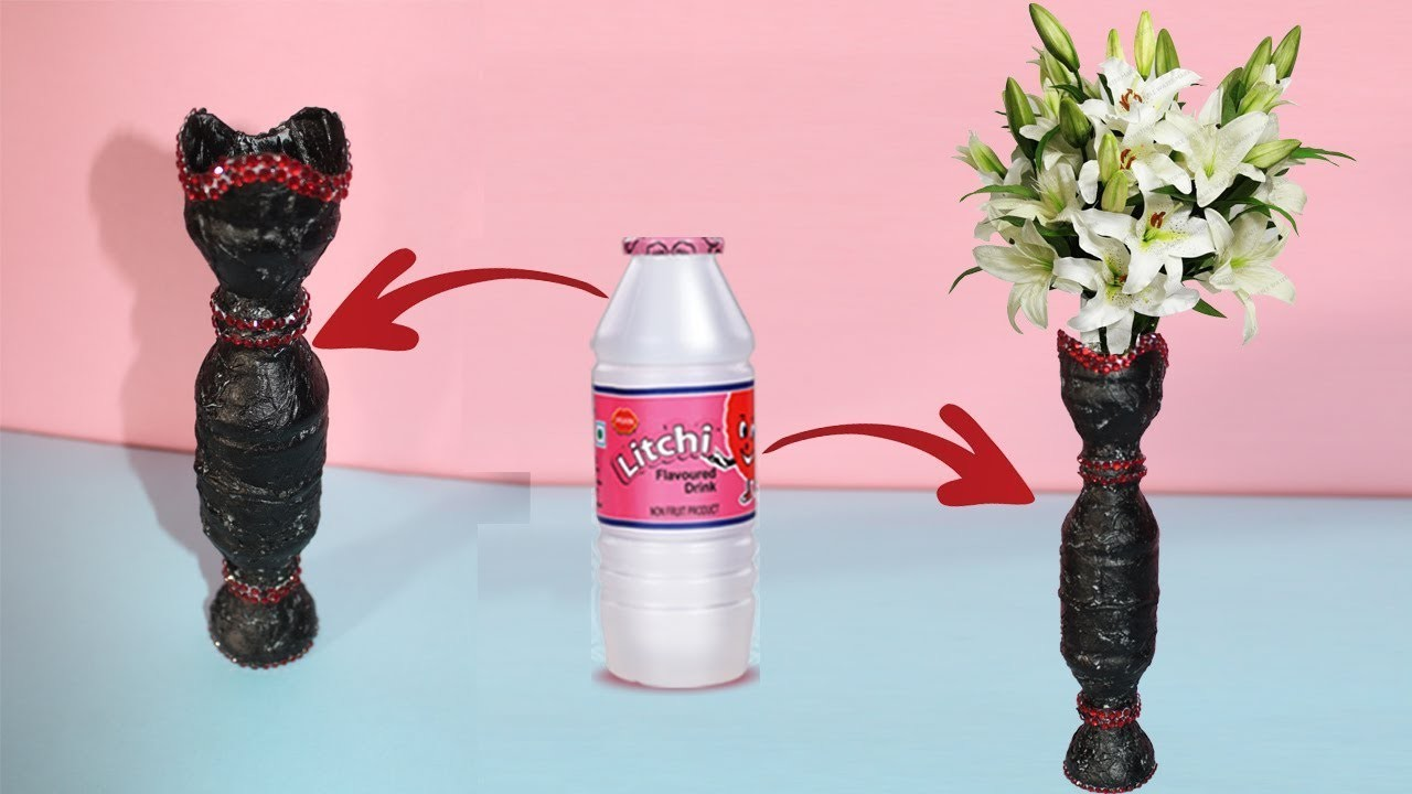 How To Make Beautiful Flower Vase With Litchi Drink Bottle    Best Out Of Waste Idea- (Eti's ETC)