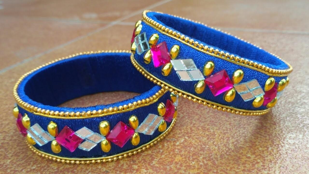 How To Make Beautiful Silk Thread Bangles | Mirror Work Silk Thread Bangles | DIY | Designer Kada