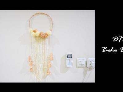 How to make boho decor , DIY Boho Dreamcatcher , Pompom dreamcatcher , wall decor , Hanging Wall