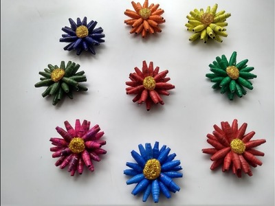 How to make Paper Bead Flower    Best out of waste   DIY   Iris Craft Corner 12