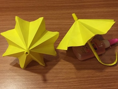 Yellow Paper Art - How to Make Paper Umbrella - Origami Folds