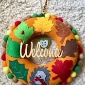 Autumn inspired Welcome felt Leaf Wreath with cute Hedgehog