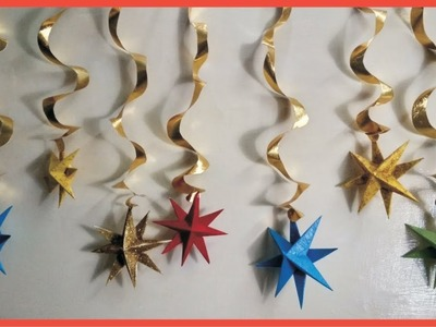 Back Ground Decoration For Festivals (Party, Ganesh Chaturthi.Dussehra) -DIY | Swirling 3d stars