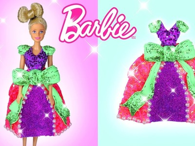 Barbie Dress DIY Barbie Outfit Doll Crafting Hacks Play Doh Toys For Kids