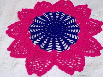 Beautiful Design Rumal | Woolen Rumal Making | DIY Room Decor | Crafts | Table Mat | Thalpos