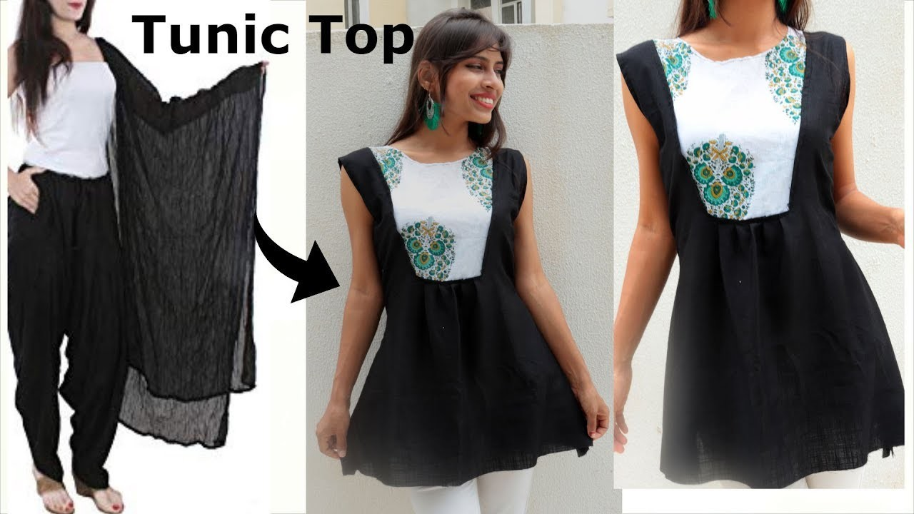 Convert DUPATTA into TUNIC Top | Diy A Line Kurti only in 5 minutes