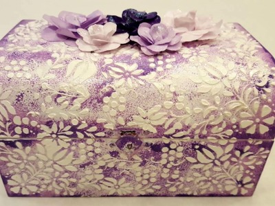 Decoupage box with template and flowers-DIY