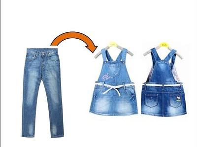DIY: Convert.Reuse Old Men's Jeans to Girls DUNGAREE DRESS. DUNGAREE SKIRT