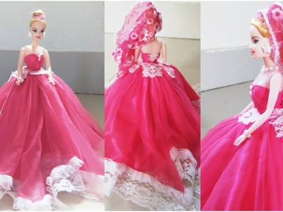DIY Doll Decoration Ideas.Best Use of Baby Old Frock.Stylish Gown for Dolls.Easy Barbie Dress Making