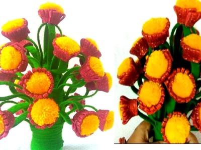 DIY.Flower Pot With wool.Glitter Foam Guldasta.WAste Plastic Bottle & X-Ray Guldasta.Flower vase.