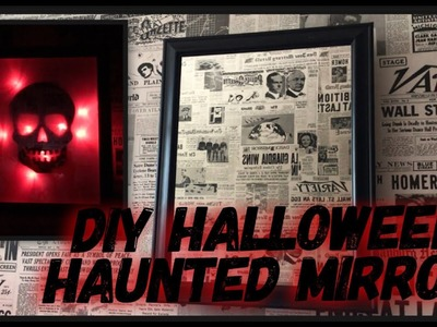 DIY Halloween Haunted Mirror - Creepy  Halloween Decor - Lighted Spooky Skull Mirror - Dollar Tree