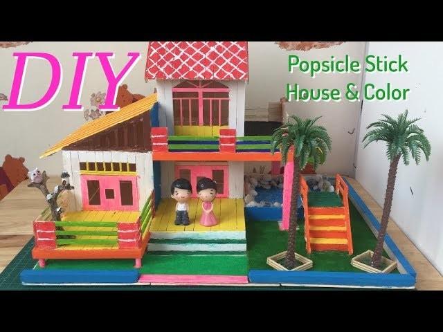 DIY Popsicle Stick House & Color - Easy Crafts for Kids