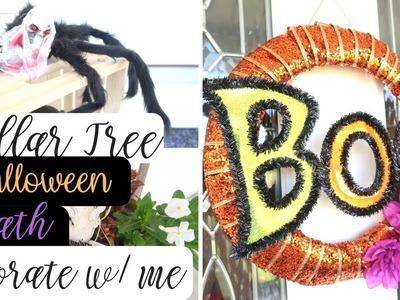 DOLLAR TREE DIY HALLOWEEN WREATH | DECORATE WITH ME | FRONT PORCH DECORATING | HALLOWEEN SPIDER