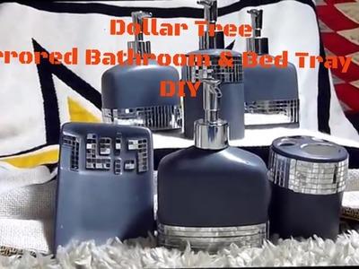 Dollar Tree Mirrored Bathroom & Bed Tray Set DIY- Home Decor-Glam Baby