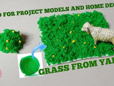 Easy DIY artificial grass used for home decors and school projects using yarn dust