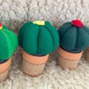 Felt cactus plant with terracotta pot