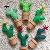 Felt cactus plant with terracotta pot