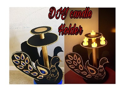 Handmade peacock diya stand for Diwali. diy lamp stand.candle holder. Fashion pixies