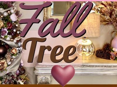 How to do a FALL TREE | Blush PINK Mauve Decor | DIY Fall Tree Ideas