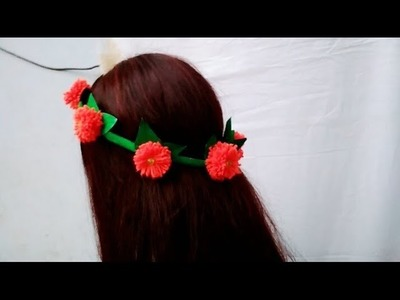 HOW TO MAKE TIARA USING WOOL AND PAPER | BEAUTIFUL FLOWER CROWN FOR GIRL