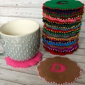 Personalised Initial Felt Gift Coasters Choose your Letter and Colours