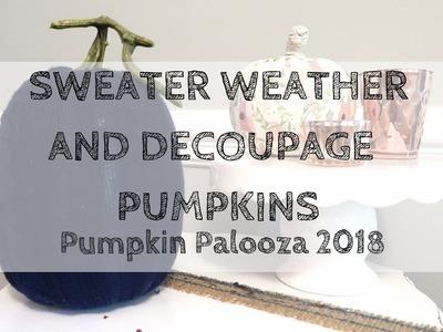 PUMPKIN PALOOZA 2018 | $5 Fall Decor DIY | Sweater Weather | Decoupage Pumpkins