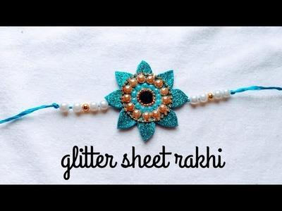 Rakhi making with glitter sheet || DIY rakhi making at home #rakhi #rakhimaking #DIY