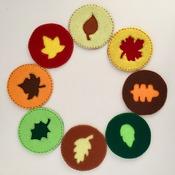 Set of 8 Round Felt Autumn Leaves Coasters Natural Colours