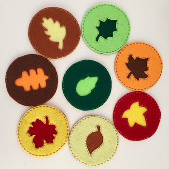 Set of 8 Round Felt Autumn Leaves Coasters Natural Colours