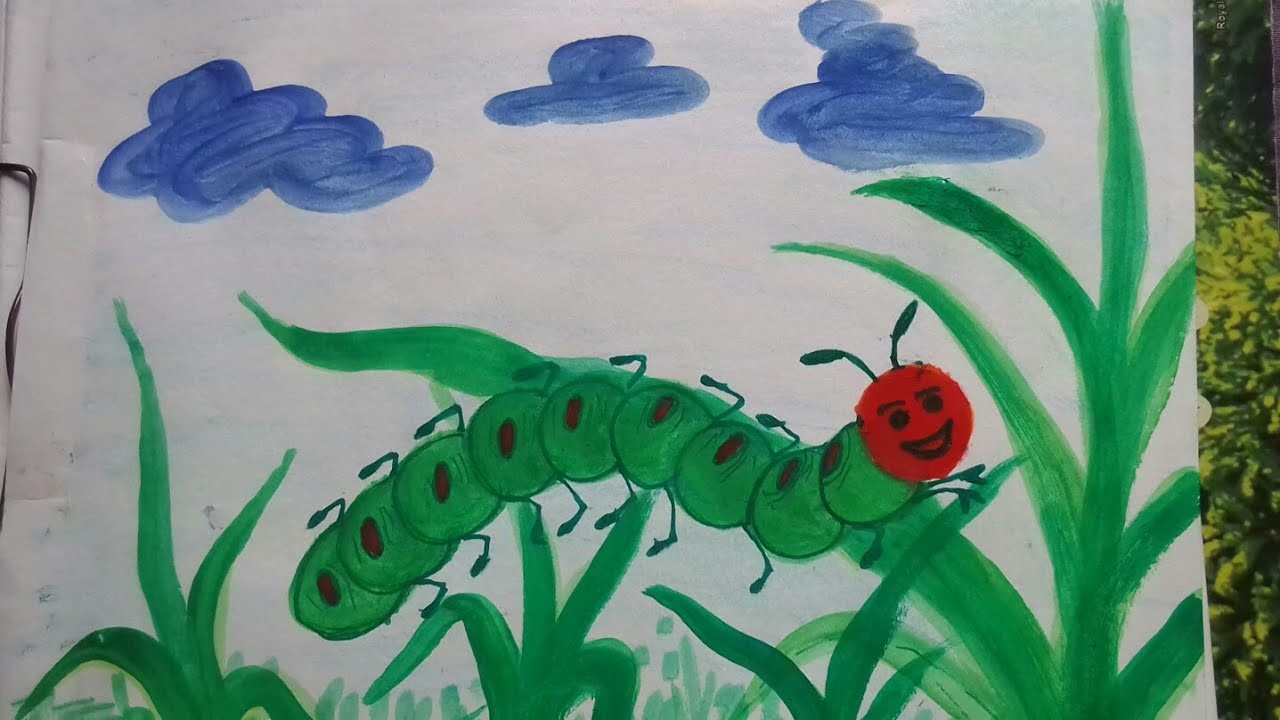 Vegetable painting:how to draw a caterpillar using brinjal