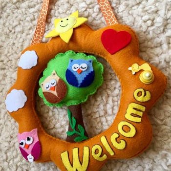 Welcome door wreath Nursery owl theme Felt