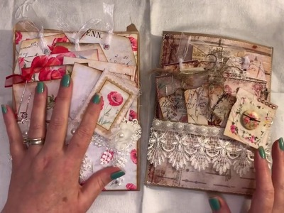 2 Altered paper bags sewing themed and Poppy themed with journals tags and Ephemera