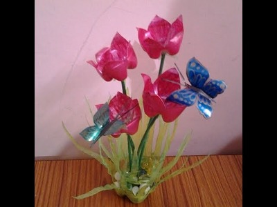 Best Out Of Waste Plastic Bottles Flower Showpiece ll DIY Reuse ideas