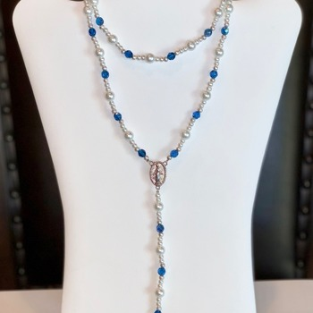 Blue Czech Bead and White Pearl Rosary