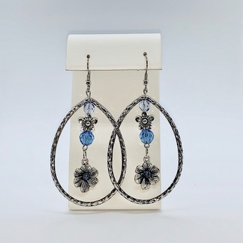 Blue Flower Bead and Antique Silver Bead Earrings