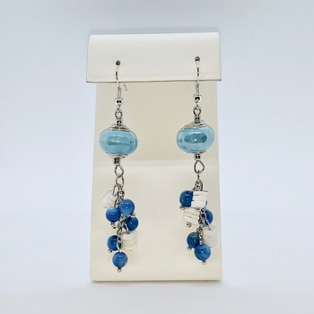 Blue Glass Bead and White Shell Earrings
