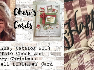 Buffalo Check Meets Merry Christmas to All - Holiday 2018 Stampin Up Birthday Card Sneak Peek