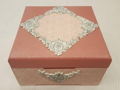 Decoupage box with pink napkin-DIY