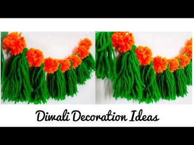 Diwali & Christmas Decorations ideas at home | DIY Toran|Door hanging from Wool | Quicky Crafts