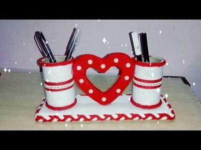 DIY Gift idea.Pen holder with heart.waste of materials