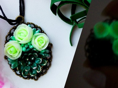 DIY Glowing Jewelry ???? Necklace with Succulent and Roses ???? Polymer Clay
