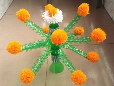 DIY: Guldasta.Woolen Guldasta!!!How to Make Guldasta With Plastic Bottles!!!
