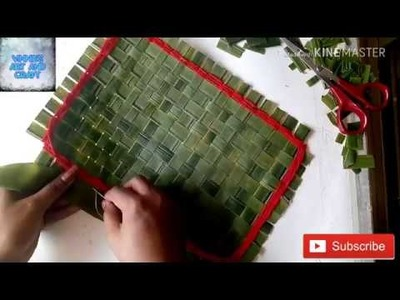 DIY How to make mini mat out of coconut tree leaves | making mat by using coconut tree leaves