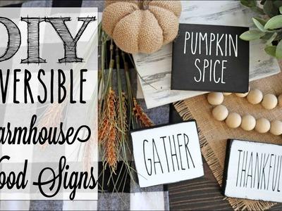 DIY Reversible Fall Farmhouse Mini Wood Signs | Rae Dunn Inspired