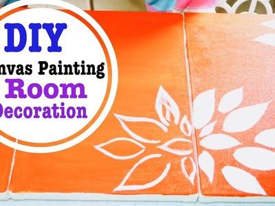 DIY WALL DECOR | Easy Canvas Art for Room Decoration In Hindi  | Ruchistylecorner